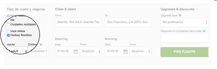 """Esta captura de pantalla es un ejemplo estático de nuestro widgetde búsqueda avanzada, que está disponible enhttps://www.alaskaair.com/planbook. En la captura de pantalla, la ubicación del casillero para seleccionar la opción de búsqueda por fechas flexibles está resaltado para facilitarle el uso de la herramienta real. Este casillero está ubicado sobre el lado izquierdo de la herramienta de reserva, en la sección """"Tipo de vuelo y viajeros"""". Muestra que hay3botones para seleccionar: """"Ida y vuelta"""", """"Ida"""" y """"Ciudades múltiples"""", seguido de dos opciones de casilleros para marcar: """"Usar millas"""" y """"Fechas flexibles"""", que en esta captura de pantalla está seleccionado. La captura muestra que una vez que uno selecciona el casillero Fechas flexibles, puede completar el resto de los campos de la herramienta para reservar en las secciones """"Ciudades y fechas"""" y """"Mejoras y descuentos"""", y luego seleccionar el botón """"Buscar vuelos"""" para continuar. Esto abre otra ventana, que es el calendario de tarifas bajas con fechas flexibles."""
