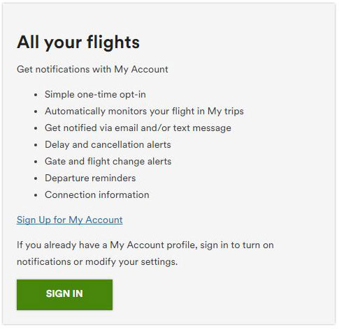 Updates on all your flights