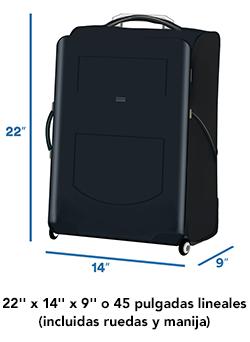 """Medidas del equipaje de mano de 22"""" x 14"""" x 9"""" o 45 pulgadas lineales"""