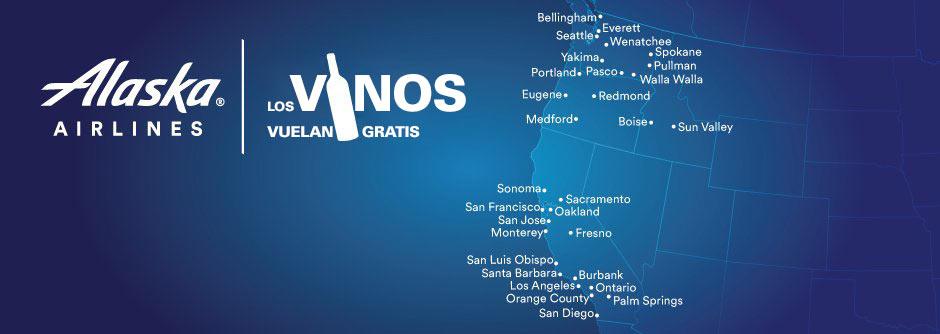 "Un mapa de ruta donde figuran las siguientes ciudades con sus respectivos códigos de aeropuerto, que son parte del programa ""Los Vinos Vuelan Gratis"": Burbank (BUR), Fresno (FAT), Los Angeles (LAX), Monterey (MRY), Oakland (OAK), Orange County (SNA), Ontario (ONT), Palm Springs (PSP), Sacramento (SMF), San Diego (SAN), San Francisco (SFO), San Jose (SJC), San Luis Obispo (SBP), Santa Barbara (SBA), Sonoma (STS), Boise (BOI), Eugene (EUG), Medford (MFR), Portland (PDX), Redmond (RDM), Bellingham (BLI), Everett (PAE), Pasco (PSC), Pullman (PUW), Seattle (SEA), Spokane (GEG), Walla Walla (ALW), Wenatchee (EAT) y Yakima (YKM)."